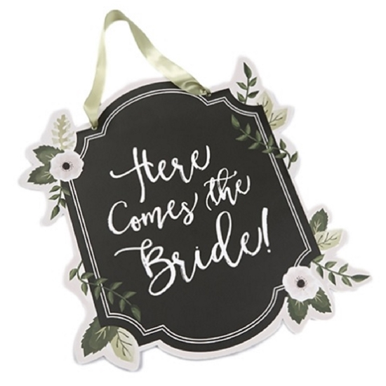 Image of a Here comes the Bride Floral Sign.