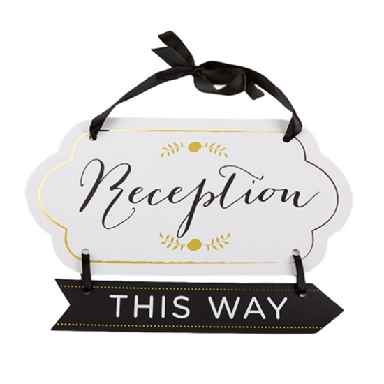 Image of a Gold Accented Reception Guide Sign pointing right.
