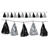 Image of a black and silver festive tassel garland.