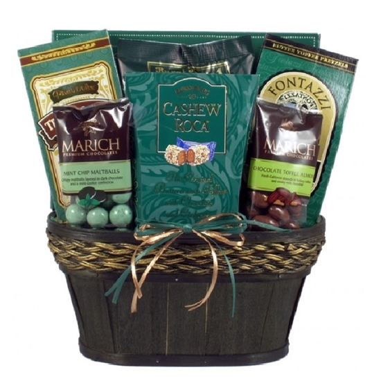 View of the green version of the Taste of Elegance Gift Basket.