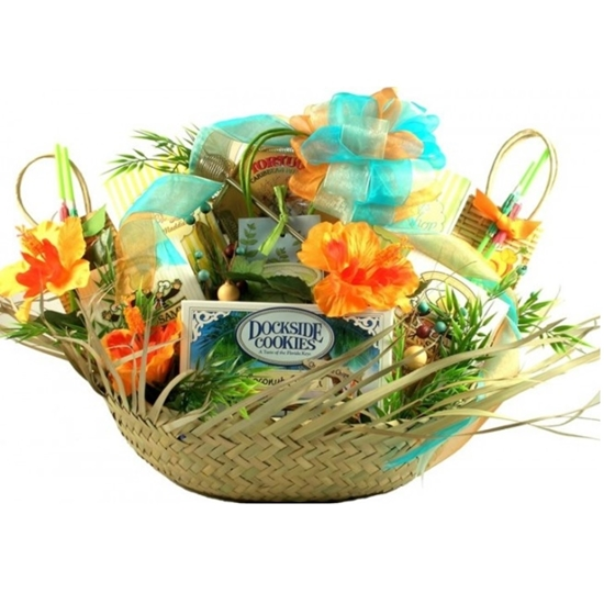 Image of a Life's A Beach Retreat Gift Basket.