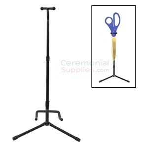 Giant ceremonial ribbon cutting scissors upright display stand example.