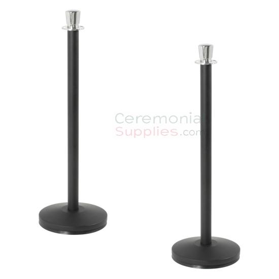 Elegant Black Stanchions with Chromed Urn Top