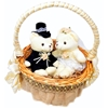 Picture of the Wedding Favors Basket with Bride and Groom Teddy Bears.