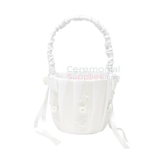 Photo of the White Flower Girl Wedding Basket.