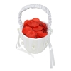 Photo of the White Flower Girl Wedding Basket filled with red petals