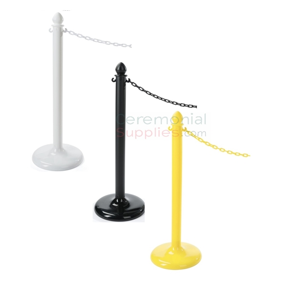 Photo of the white, black, and yellow economy weatherproof plastic stanchions.