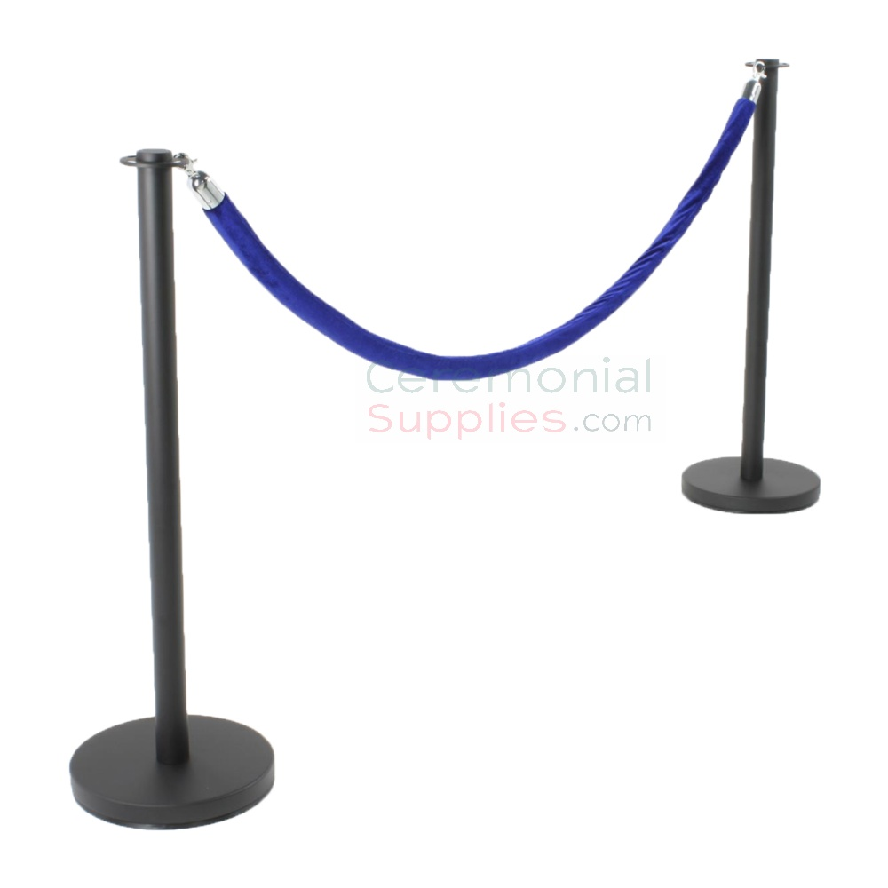 black stanchions and rope