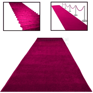 Picture of Fuchsia Ceremonial Aisle Runner with alternate use examples.