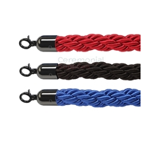 All Colors of the 6.5 Ft.Braided Stanchion Rope with Black Latch.