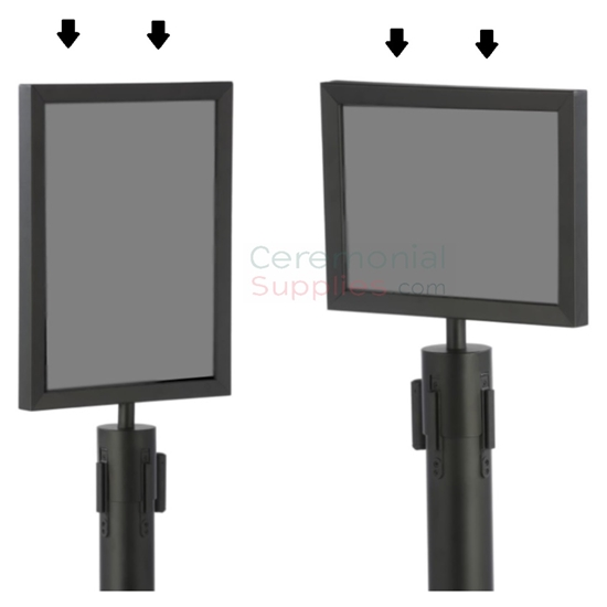 Black Stanchion Frames in Portrait and Landscape view