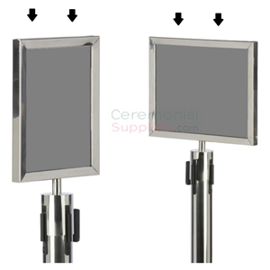 Picture of Chromed Stanchion Frame in Portrait and Landscape Positions.