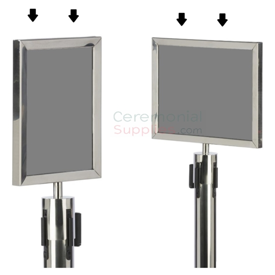 Chrome Stanchion Sign Frame With Top Insert Ceremonialsupplies Com