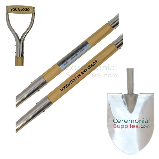 Various Examples of Customized Ceremonial Groundbreaking Shovels.