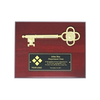 Picture of the Cherry Key to the City Plaque with Engraved Logo and Text.