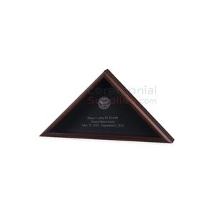 Triangle cherry wood display case with personal engraving