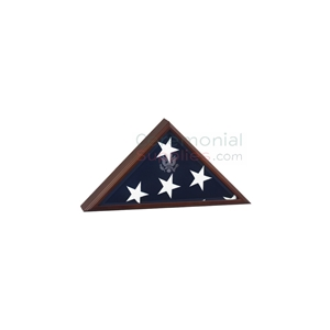 Triangle cherry wood display case with flag inside and engraving