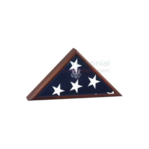 Triangle cherry wood display case with flag inside and presidential seal engraving