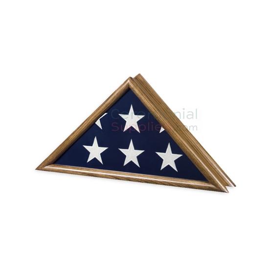 Triangle vintage oak finish flag case with flag inside