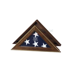 Triangle flag display case with gold accents and flag inside