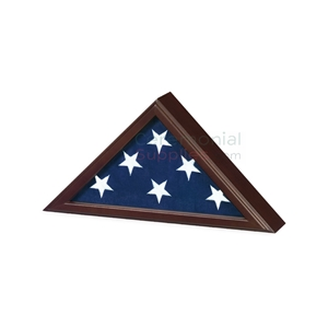 Triangle flag display case with dark wood finish