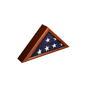Triangle flag display case with optional engraving