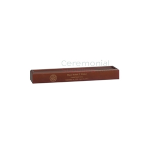 cherry wood finish rectangle wood flag display pedestal with engraving