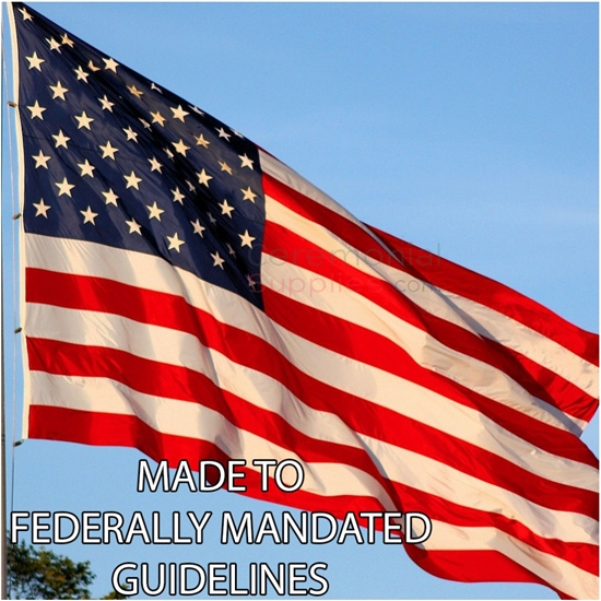 "Picture of American Flag with ""Made to Federally Mandated Regulations"" caption"