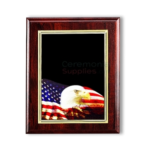 Cherry finish vertical plaque with black area for engraving and digital photo of bald eagle and American flag