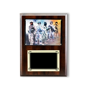 Wood plaque with black area for engraving and room at the top for photo insert