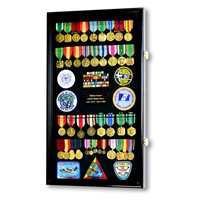 Large vertical display case filled with medals