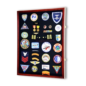 Picture of jumbo vertical display case filled with medals