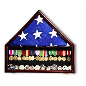 Pictured combination triangle flag display case and medal shadowbox display case