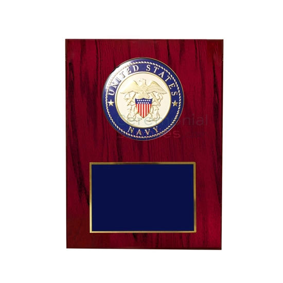Cherry wood finish plaque with US Navy medallion and room for personal engraving