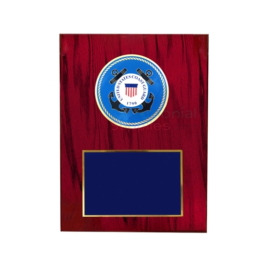 Cherry finish plaque with US Coast Guard medallion and black area for engraving