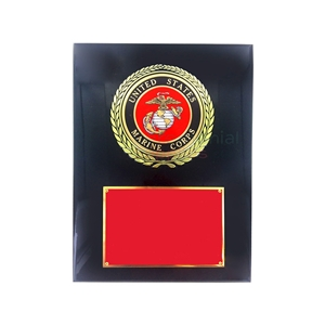 Black and red plaque with Marine Corps seal surrounded by a wreath and room for engraving