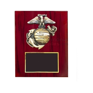 Cherry finish plaque with Marine Corps emblem and black area for engraving