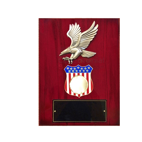 Cherry finish plaque with American eagle emblem and American flag shield with room for medallion insert and black area for engraving