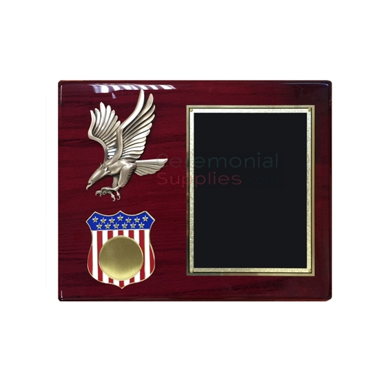 Horizontal plaque featuring American eagle emblem and American flag shield with medallion insert and black plate for engraving