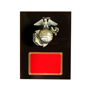 Black Marine Corps emblem plaque with red area for engraving