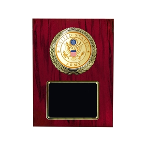 Cherry finish plaque with the US Army medallion and black area for engraving