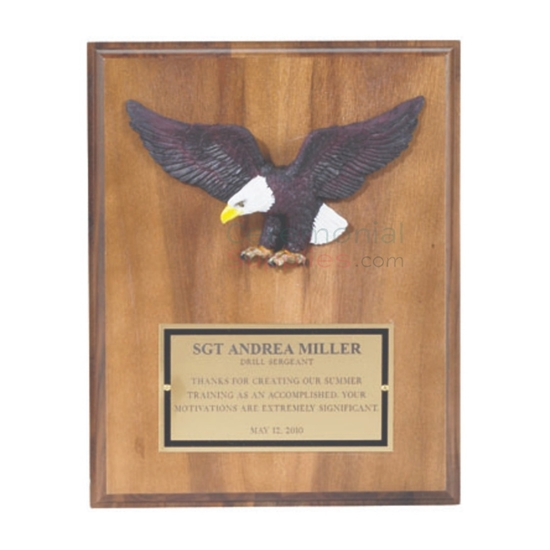Picture of Bald Eagle on an Award Plaque with Brass Plate for Customization
