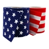 Pictured red and white stripes ribbon with blue velvet and stars ribbon