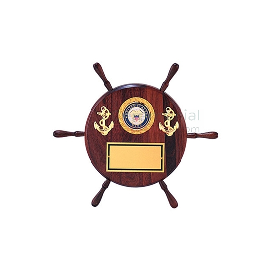 Pictured Ship wheel shaped plaque with two anchors, the military branch, and room for engraving
