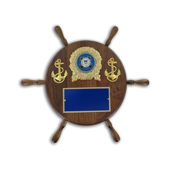 Pictured wheel shaped award plaque with two anchors, the Coast Guard emblem, and an engraving plate
