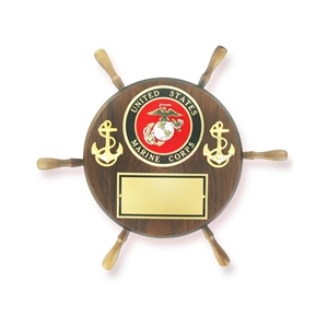 Ship wheel shaped wooden plaque with the US Marine emblem and two anchors, and a plate to engrave below