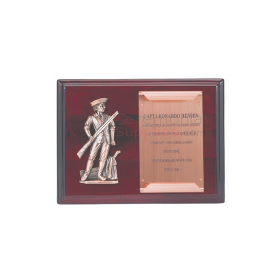 Cherry wood plaque with minuteman figure and scroll with space to engrave text