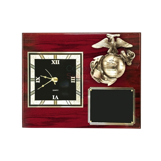 Cherry wood plaque with a clock and Marine Corps insignia with room for engraving