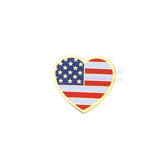 Heart shape American flag lapel pin with gold outline