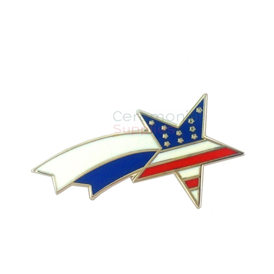 Lapel pin of a shooting star filled in with the American flag colors